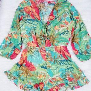 Ron Jon tropical print long sleeves romper. Size L